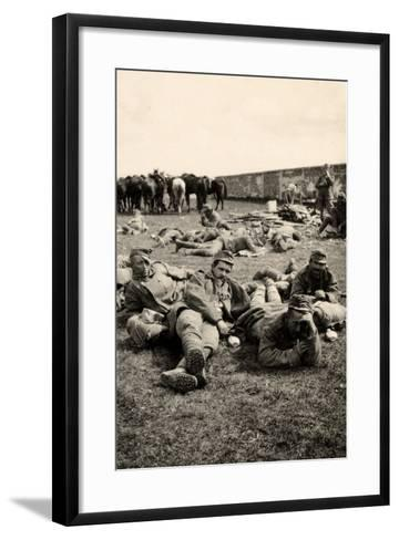 Prisoners in Transit Rest at Medeuzza During World War I-Ugo Ojetti-Framed Art Print