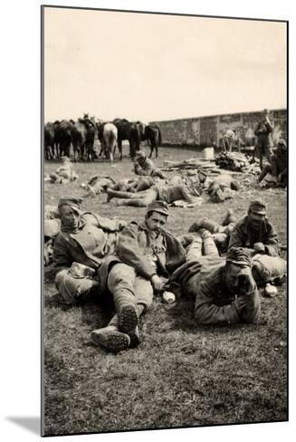Prisoners in Transit Rest at Medeuzza During World War I-Ugo Ojetti-Mounted Photographic Print