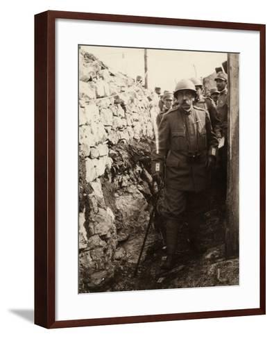 General Elia Inside a Trench with a Group of Soldiers. the Photo Was Taken May 1916-Ugo Ojetti-Framed Art Print