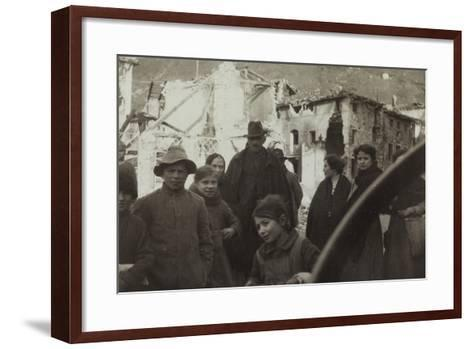 Residents of San Dona Di Piave. in the Background Buildings Destroyed by Bombing in World War I--Framed Art Print