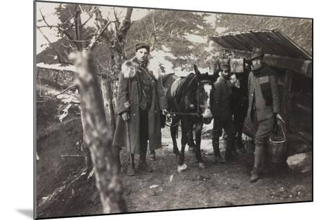 World War I: Italian Soldiers with a Donkey Near a Fountain on the Col Di Lana--Mounted Photographic Print