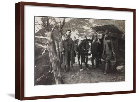 World War I: Italian Soldiers with a Donkey Near a Fountain on the Col Di Lana--Framed Art Print