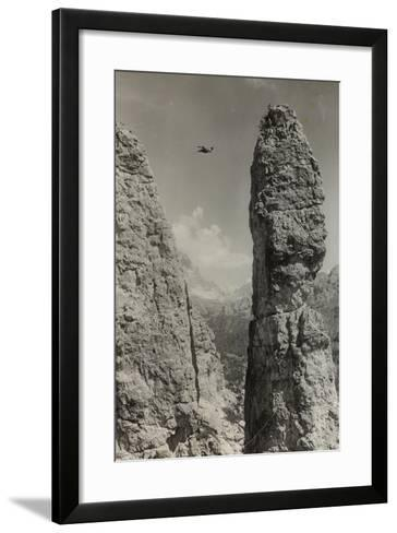 Extreme Climbing on a Mountain Peak in the Dolomites--Framed Art Print