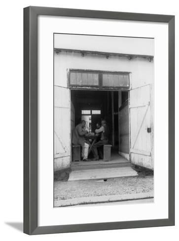 Internment Camp Katzenau, a Suburb of Linz, Austria: Some Prisoners During the Meal--Framed Art Print