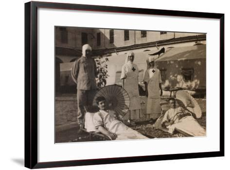 Pictures of War II: Red Cross Nurses Treating Wounded Soldiers with the Sun Therapy, Vicenza--Framed Art Print