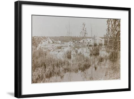 World War I: Footbridge over the River Piave in an Area Affected by the Bombing--Framed Art Print