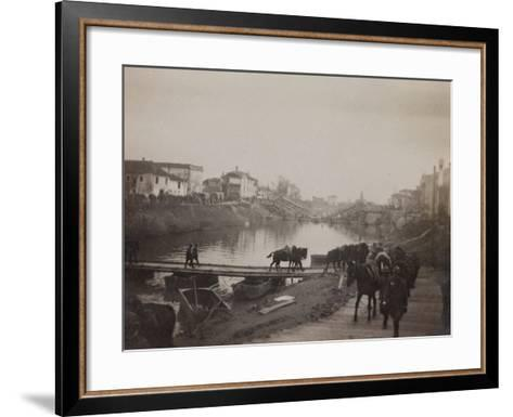 Pictures of War II: Italian Soldiers and Horses Crossing a Temporary Bridge after a Bombing--Framed Art Print