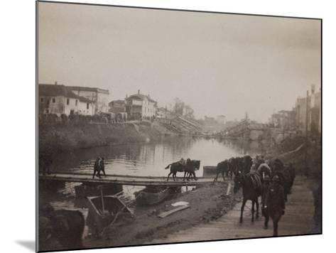 Pictures of War II: Italian Soldiers and Horses Crossing a Temporary Bridge after a Bombing--Mounted Photographic Print