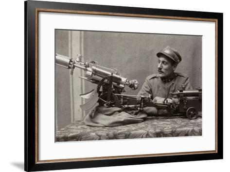 Soldier Near a Machine Gun--Framed Art Print