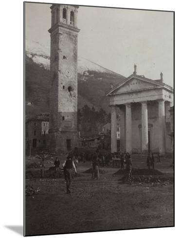 Square in the Old Town of Valdobbiadene with the Bell Tower Damaged by Bombing in World War I--Mounted Photographic Print