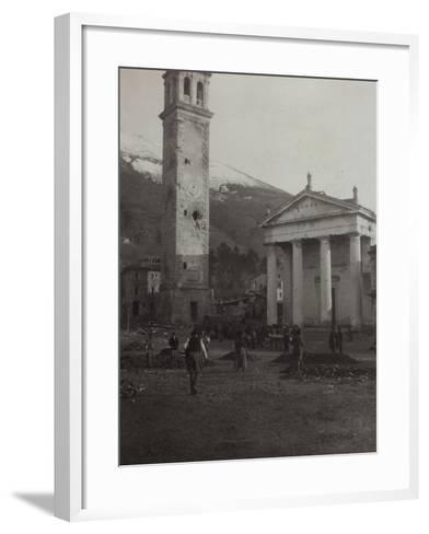 Square in the Old Town of Valdobbiadene with the Bell Tower Damaged by Bombing in World War I--Framed Art Print