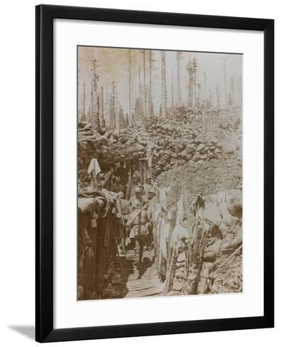 First World War: Soldiers in a Trench on Mount Zebio--Framed Art Print