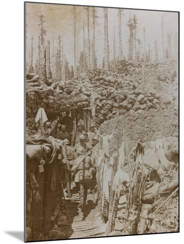 First World War: Soldiers in a Trench on Mount Zebio--Mounted Photographic Print