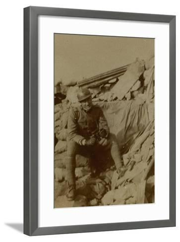 War Campaign 1917-1920: Captain Lecconi at Altitude Mountain 11, Recently Won--Framed Art Print