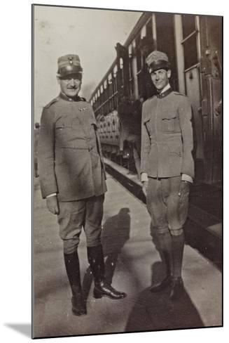 Campagna Di Guerra 1915-1916-1917-1918: Jack Bosio in Uniform with an Officer in Udine--Mounted Photographic Print