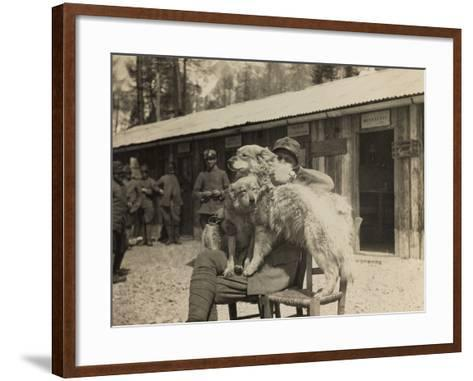 World War I: Italian Soldier with Dogs--Framed Art Print