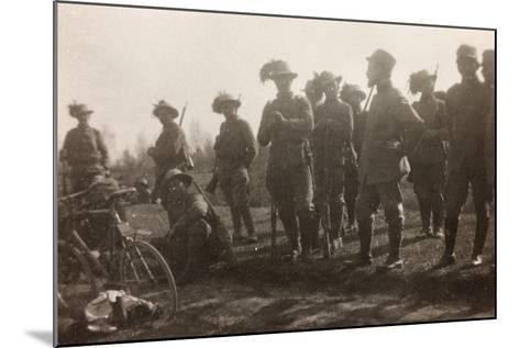 WWI: the Ninth Battalion of the Bersaglieri Cyclists--Mounted Photographic Print
