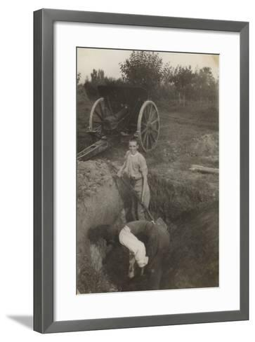 Young Boy Photographed While Digging a Trench in San Giorgio Di Nogaro During the First World War--Framed Art Print