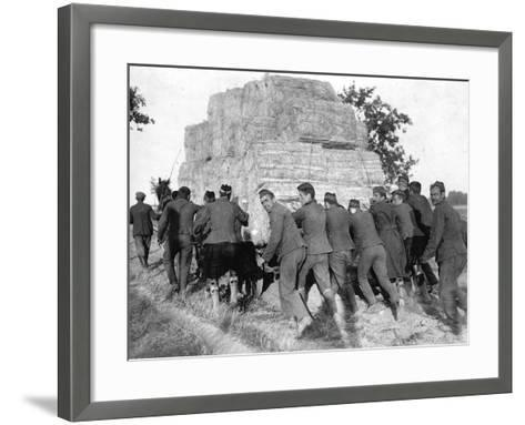 A Group of British Pows in Germany, Transporting Hay for the Troops' Straw Beds--Framed Art Print