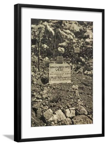 Visions of War 1915-1918: Cemetery in a War Zone with Inscription-Vincenzo Aragozzini-Framed Art Print