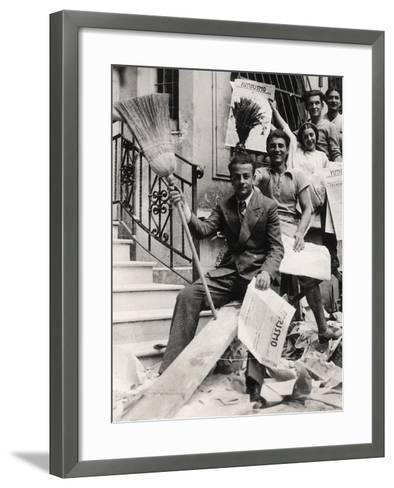 Some Youths with the Newspaper Futurismo-Luigi Leoni-Framed Art Print