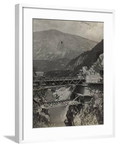 Bridge over the River Isonzo in Caporetto During the First World War-Luigi Verdi-Framed Art Print