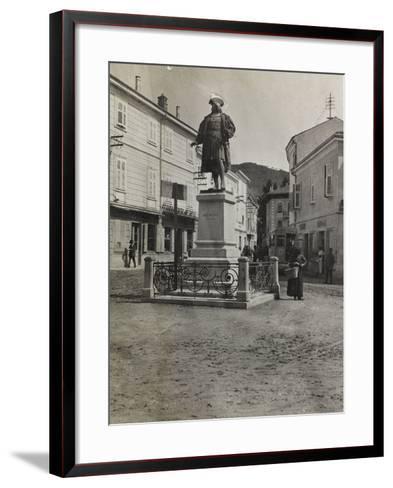 Monument to Maximilian in Plaza of Cormons During the First World War-Luigi Verdi-Framed Art Print
