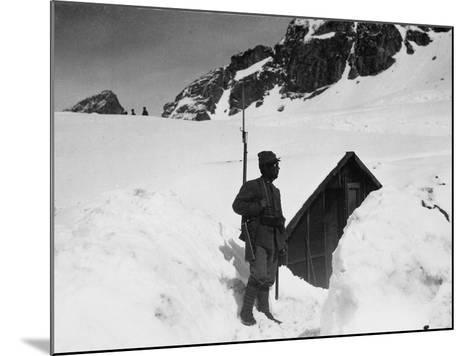 Sentry Guard at an Elevation of 3000 Meters on Adamello During World War I-Ugo Ojetti-Mounted Photographic Print