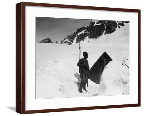 Sentry Guard at an Elevation of 3000 Meters on Adamello During World War I-Ugo Ojetti-Framed Art Print