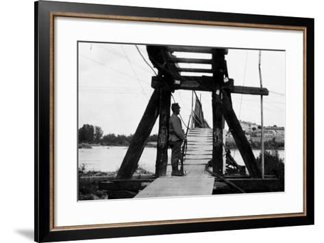 The Footbridge Connecting Gradisca with Sdraussina During World War I-Ugo Ojetti-Framed Art Print