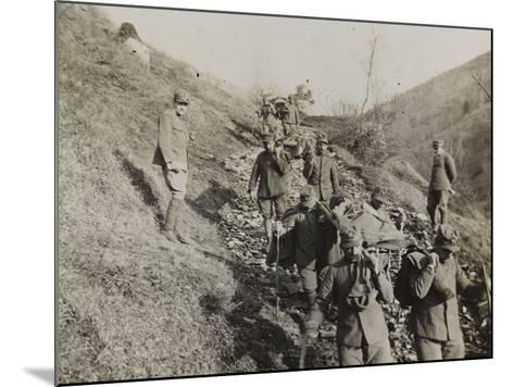 Soldiers of the Section of Health Engaged in the Evacuation of the Wounded During the WWI-Luigi Verdi-Mounted Photographic Print