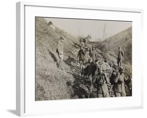 Soldiers of the Section of Health Engaged in the Evacuation of the Wounded During the WWI-Luigi Verdi-Framed Art Print