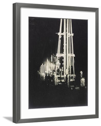 Night Work with Reflectors During the Construction of a Wooden Bridge for a Temporary Detour--Framed Art Print