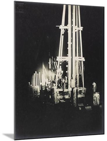Night Work with Reflectors During the Construction of a Wooden Bridge for a Temporary Detour--Mounted Photographic Print