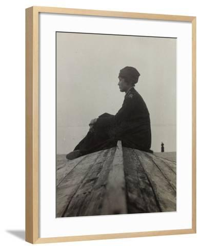 Anita Self with the Uniform of the American Red Cross Photographed on the Beach in Noli--Framed Art Print