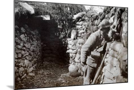 A Soldier in a Trench Scans the Surrounding Territory--Mounted Photographic Print