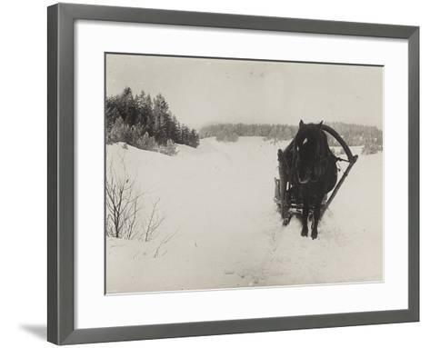 First World War: A Horse-Drawn Sleigh in the Snow--Framed Art Print