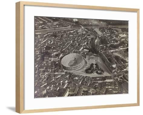 First World War: View of Verona with the Arena and the River Adige, Taken from a Blimp--Framed Art Print