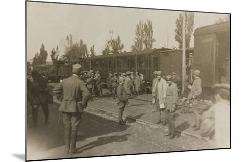 War Campaign 1917-1920: Soldiers at the Train Station of Cervignano Del Friuli--Mounted Photographic Print