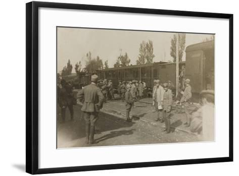 War Campaign 1917-1920: Soldiers at the Train Station of Cervignano Del Friuli--Framed Art Print