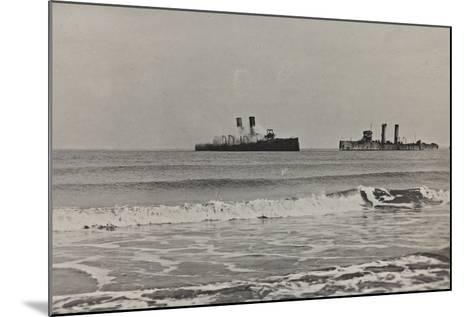 British Naval Vessels Off the Port of Ostend During the First World War--Mounted Photographic Print