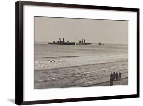 British Naval Vessels Off the Port of Ostend During the First World War--Framed Art Print