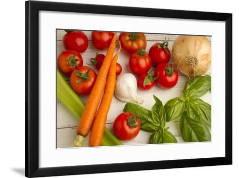 A Colorful Array of Fresh Garden Veggies Sit on a Rustic White Farm Table-Cynthia Classen-Framed Art Print
