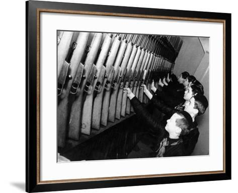 A Group of Young Balilla in Front of the Guns-Luigi Leoni-Framed Art Print