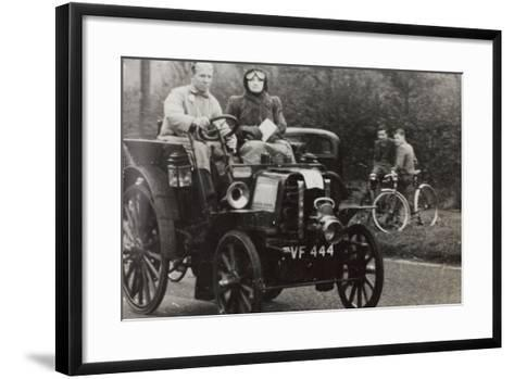 C.G.H. Dunham Driving a Race Car Vintage Renault--Framed Art Print