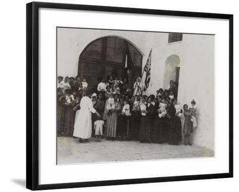 A Group of Women with Children Photographed in the Courtyard of a Convent--Framed Art Print