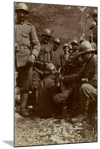 Free State of Verhovac-July 1916: Italian Soldiers with Goat in the Field Fous Rio in Val D 'Aupa--Mounted Photographic Print