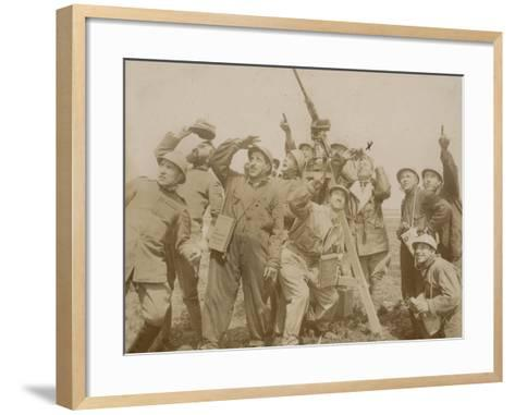 Italian Army Soldiers with a Machine Gun Anti-Aircraft During the First World War, Castenedolo--Framed Art Print