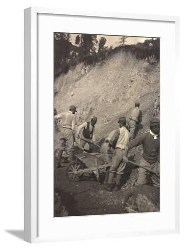 World War I: Italian Soldiers to Work for the Construction of a Shed--Framed Art Print
