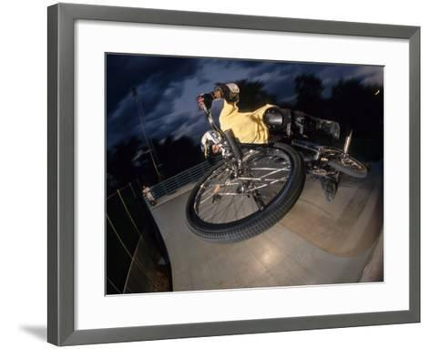 Bmx Cyclist Flys over the Vert--Framed Art Print